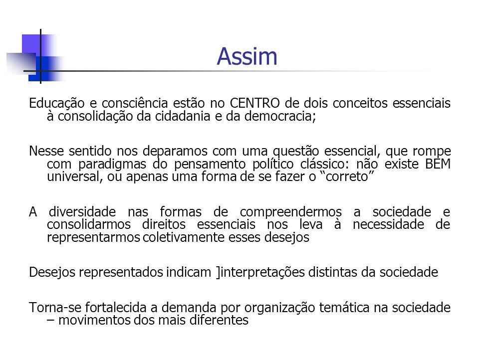 Assim Educação e consciência estão no CENTRO de dois conceitos essenciais à consolidação da cidadania e da democracia;