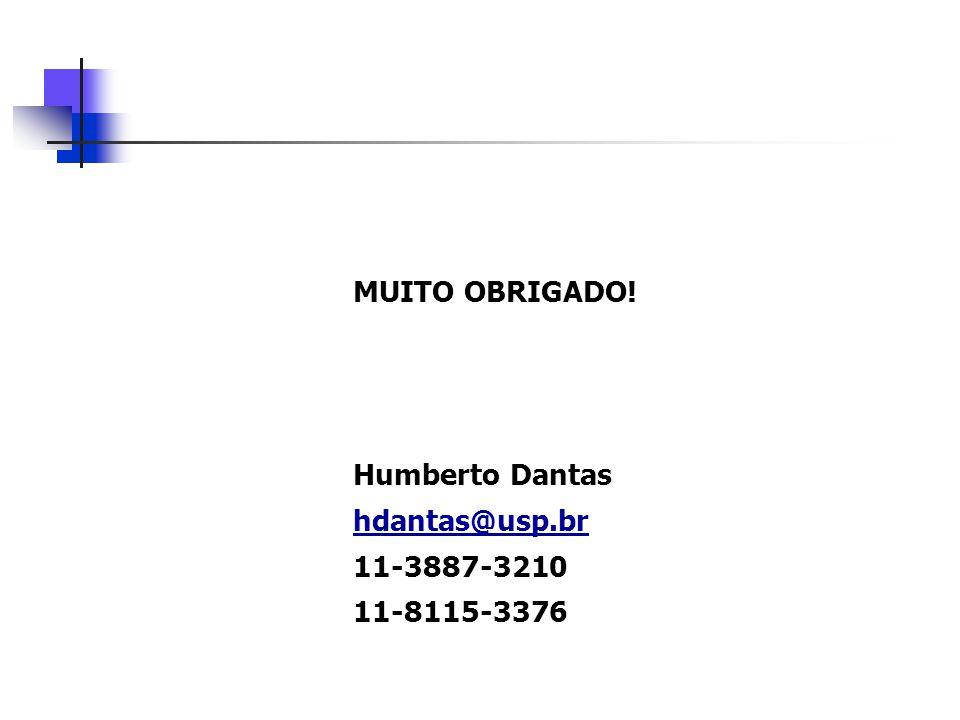 MUITO OBRIGADO! Humberto Dantas hdantas@usp.br 11-3887-3210 11-8115-3376