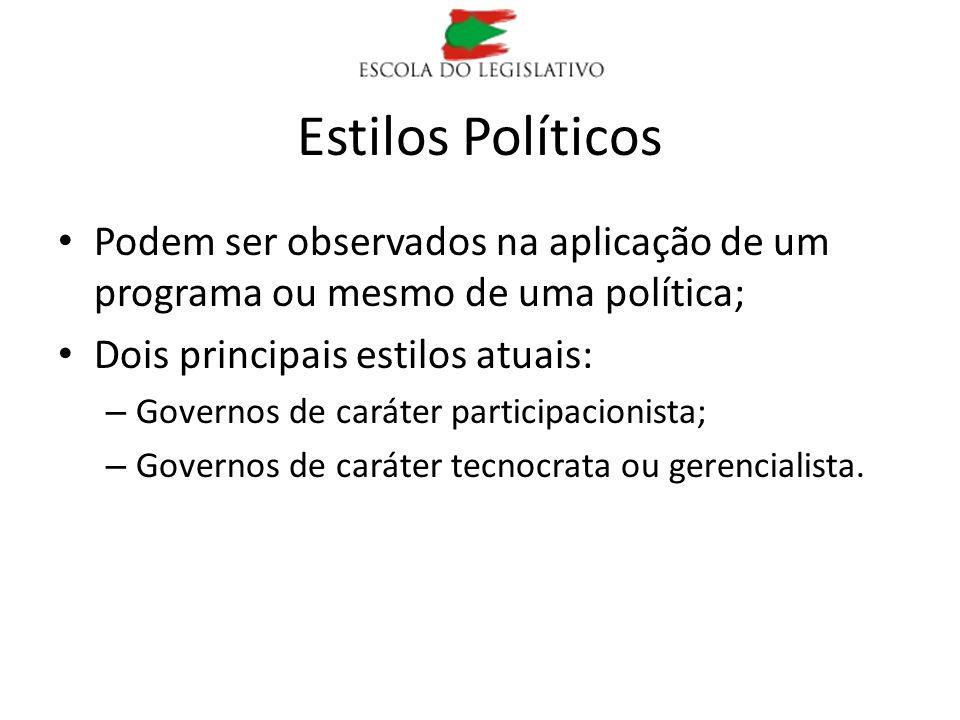 Estilos Políticos Podem ser observados na aplicação de um programa ou mesmo de uma política; Dois principais estilos atuais: