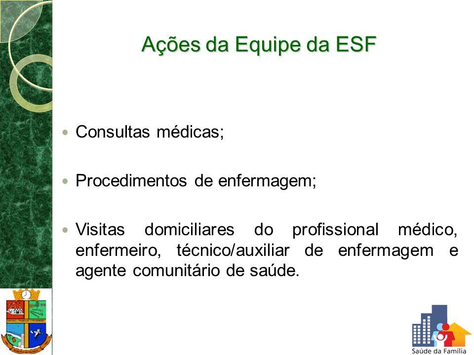 Ações da Equipe da ESF Consultas médicas; Procedimentos de enfermagem;