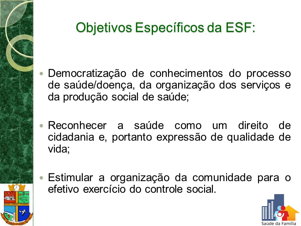 Objetivos Específicos da ESF: