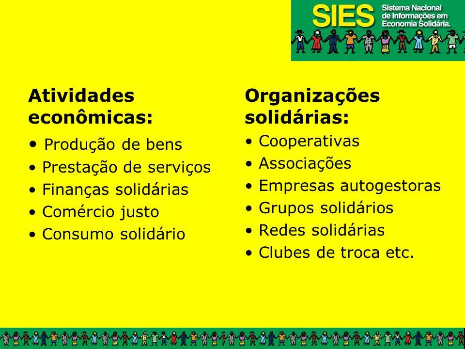 Atividades econômicas: Produção de bens Organizações solidárias: