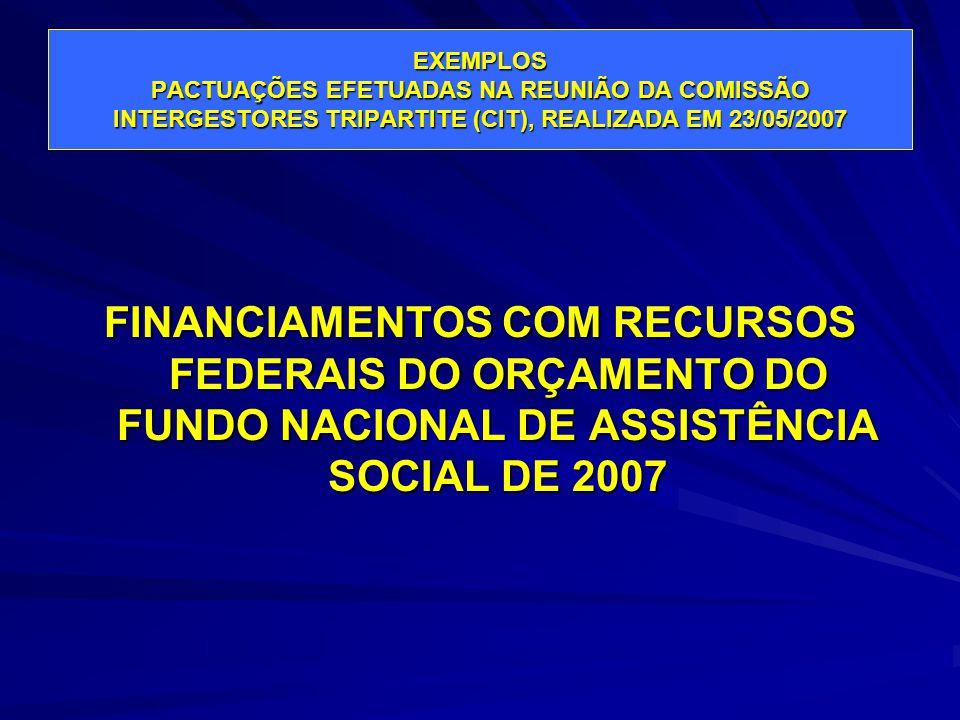 EXEMPLOS PACTUAÇÕES EFETUADAS NA REUNIÃO DA COMISSÃO INTERGESTORES TRIPARTITE (CIT), REALIZADA EM 23/05/2007