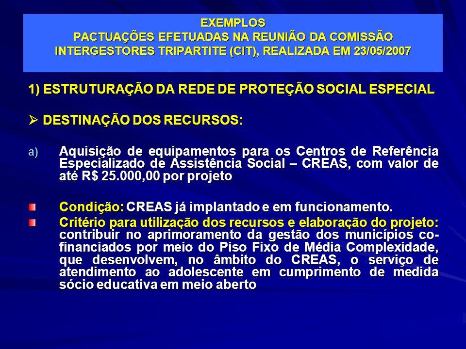 1) ESTRUTURAÇÃO DA REDE DE PROTEÇÃO SOCIAL ESPECIAL