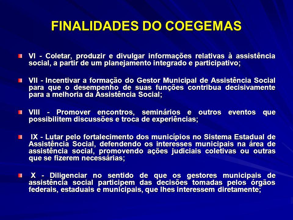 FINALIDADES DO COEGEMAS