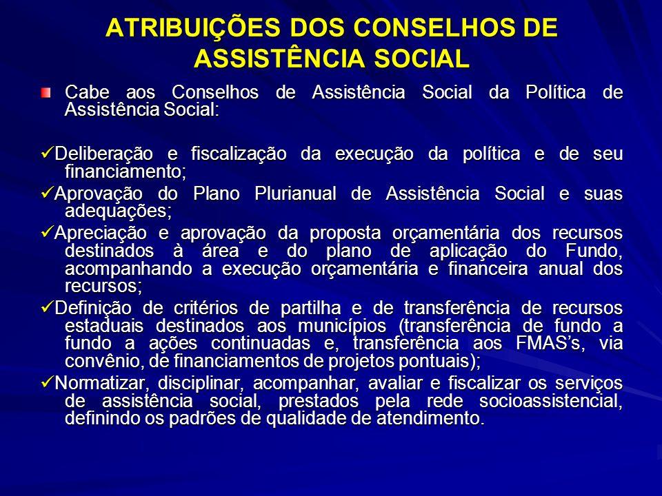 ATRIBUIÇÕES DOS CONSELHOS DE ASSISTÊNCIA SOCIAL