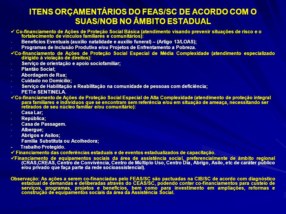 ITENS ORÇAMENTÁRIOS DO FEAS/SC DE ACORDO COM O SUAS/NOB NO ÂMBITO ESTADUAL