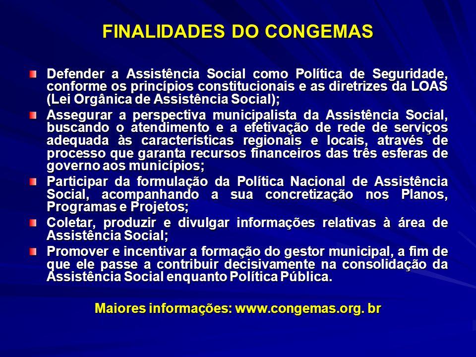 FINALIDADES DO CONGEMAS