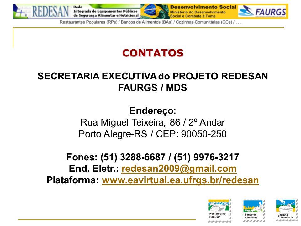 CONTATOS SECRETARIA EXECUTIVA do PROJETO REDESAN FAURGS / MDS