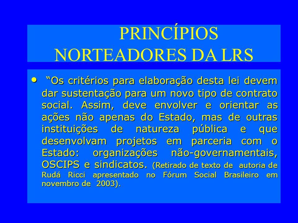 PRINCÍPIOS NORTEADORES DA LRS