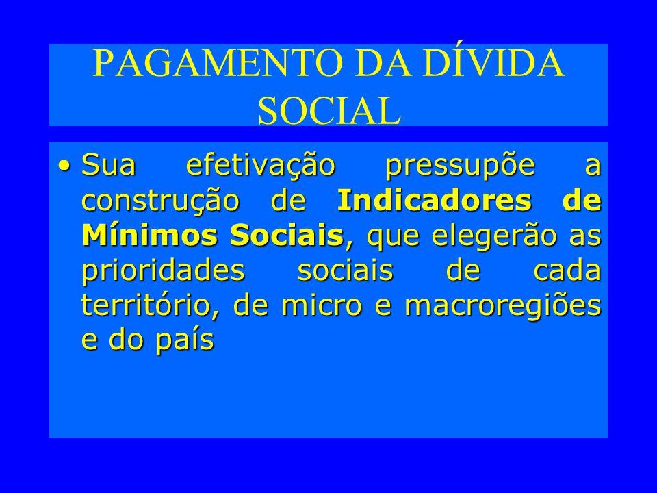 PAGAMENTO DA DÍVIDA SOCIAL