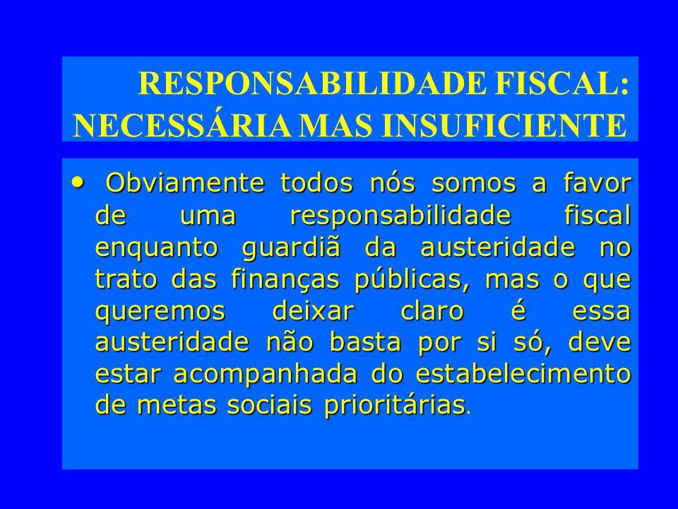 RESPONSABILIDADE FISCAL: NECESSÁRIA MAS INSUFICIENTE