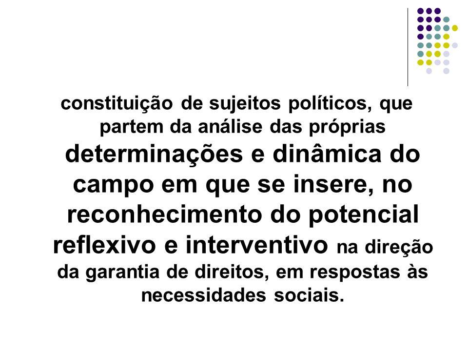 constituição de sujeitos políticos, que partem da análise das próprias determinações e dinâmica do campo em que se insere, no reconhecimento do potencial reflexivo e interventivo na direção da garantia de direitos, em respostas às necessidades sociais.