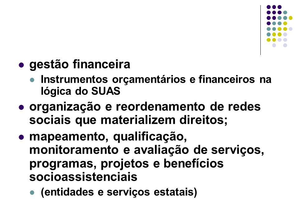 gestão financeira Instrumentos orçamentários e financeiros na lógica do SUAS.