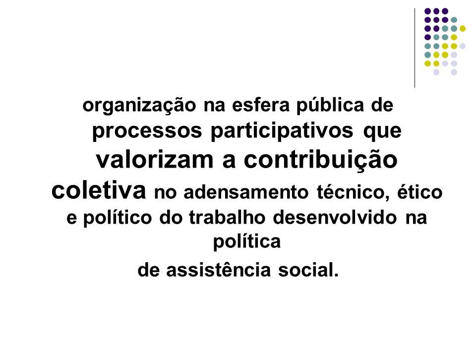 organização na esfera pública de processos participativos que valorizam a contribuição coletiva no adensamento técnico, ético e político do trabalho desenvolvido na política de assistência social.