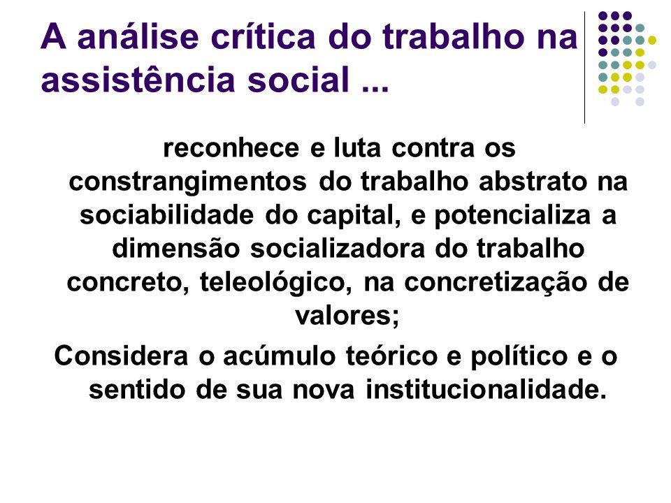 A análise crítica do trabalho na assistência social ...