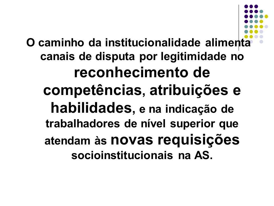 O caminho da institucionalidade alimenta canais de disputa por legitimidade no reconhecimento de competências, atribuições e habilidades, e na indicação de trabalhadores de nível superior que atendam às novas requisições socioinstitucionais na AS.
