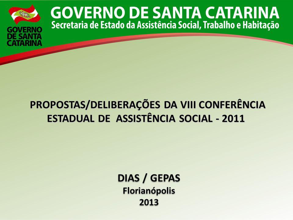 PROPOSTAS/DELIBERAÇÕES DA VIII CONFERÊNCIA ESTADUAL DE ASSISTÊNCIA SOCIAL - 2011