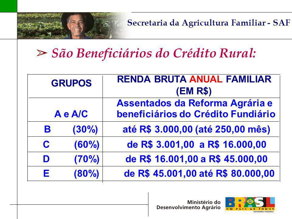 São Beneficiários do Crédito Rural: