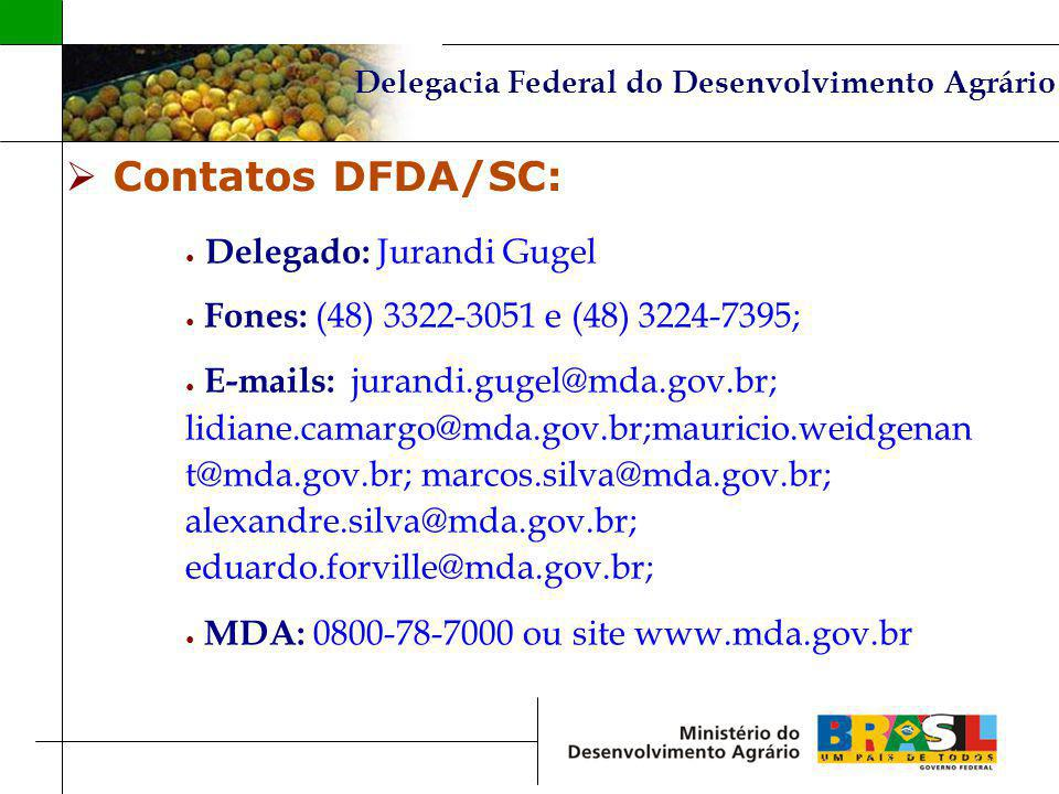 Contatos DFDA/SC: Delegado: Jurandi Gugel