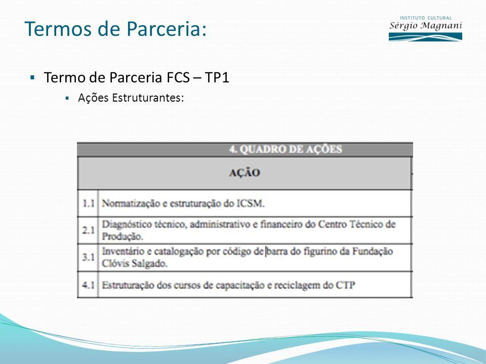 Termos de Parceria: Termo de Parceria FCS – TP1 Ações Estruturantes:
