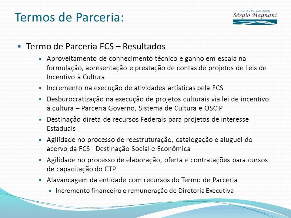 Termos de Parceria: Termo de Parceria FCS – Resultados