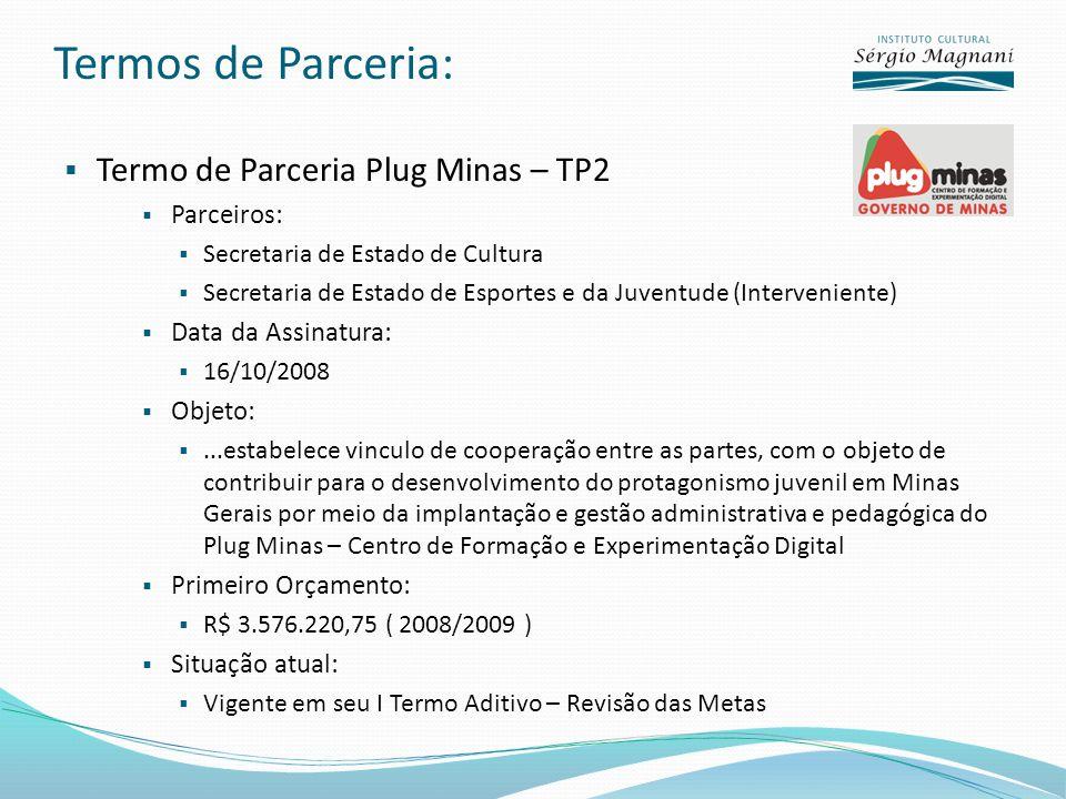 Termos de Parceria: Termo de Parceria Plug Minas – TP2 Parceiros: