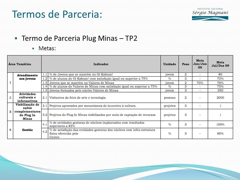 Termos de Parceria: Termo de Parceria Plug Minas – TP2 Metas: