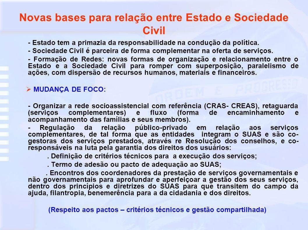 Novas bases para relação entre Estado e Sociedade Civil