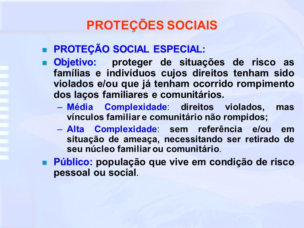 PROTEÇÕES SOCIAIS PROTEÇÃO SOCIAL ESPECIAL: