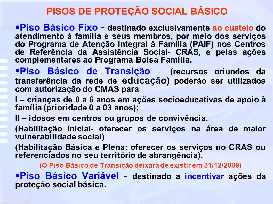 PISOS DE PROTEÇÃO SOCIAL BÁSICO