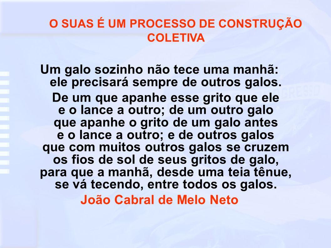 O SUAS É UM PROCESSO DE CONSTRUÇÃO COLETIVA João Cabral de Melo Neto