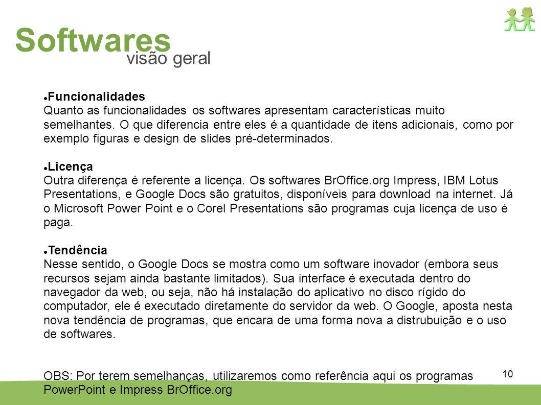 Softwares visão geral Funcionalidades