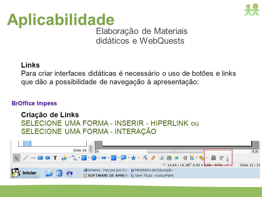 Aplicabilidade Elaboração de Materiais didáticos e WebQuests Links