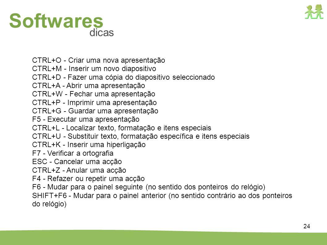 Softwares dicas CTRL+O - Criar uma nova apresentação