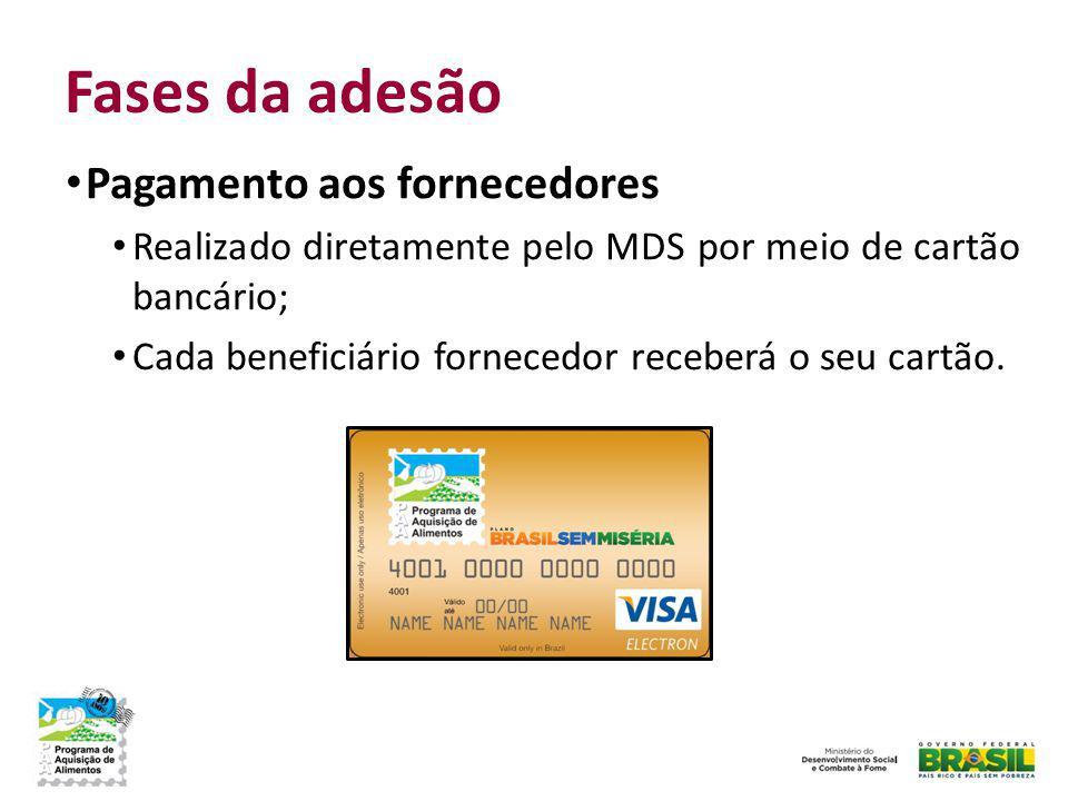 Fases da adesão Pagamento aos fornecedores