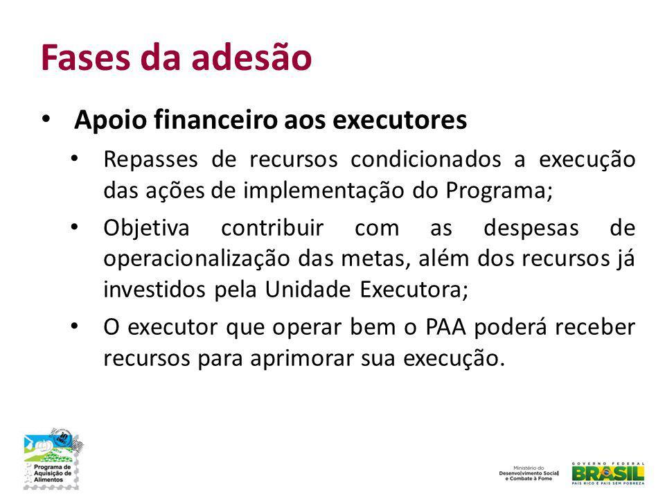 Fases da adesão Apoio financeiro aos executores