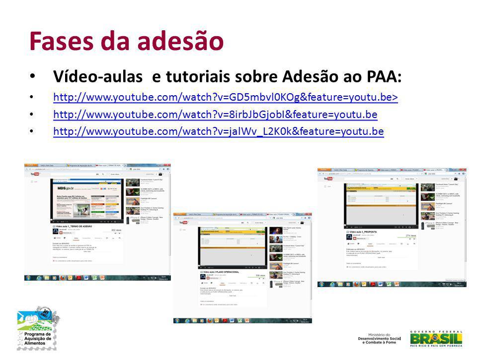 Fases da adesão Vídeo-aulas e tutoriais sobre Adesão ao PAA:
