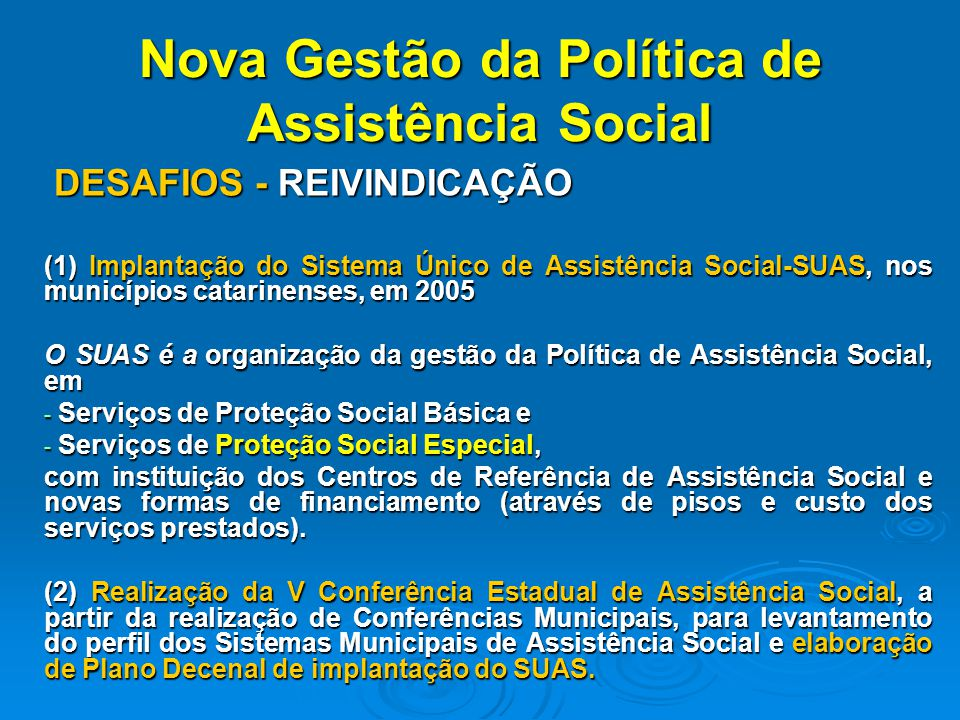 Nova Gestão da Política de Assistência Social