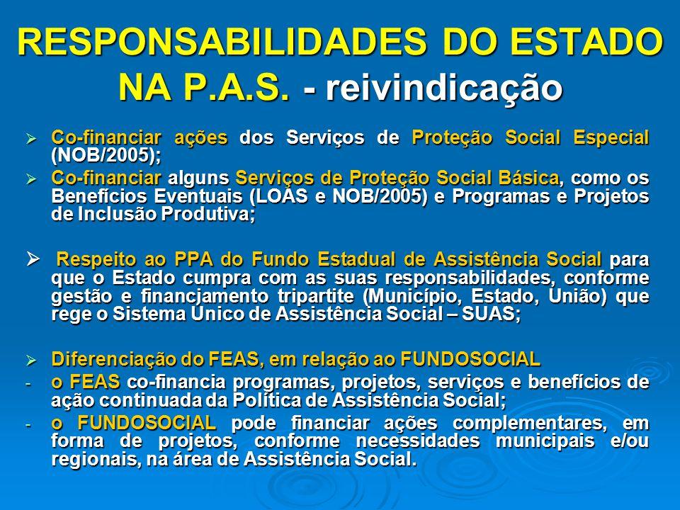 RESPONSABILIDADES DO ESTADO NA P.A.S. - reivindicação