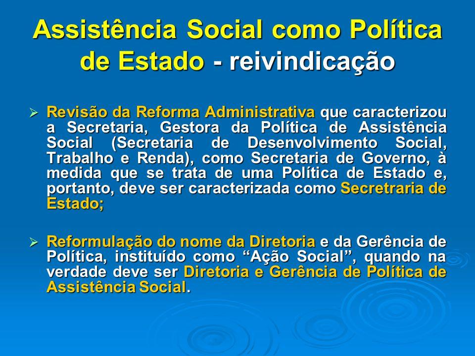 Assistência Social como Política de Estado - reivindicação