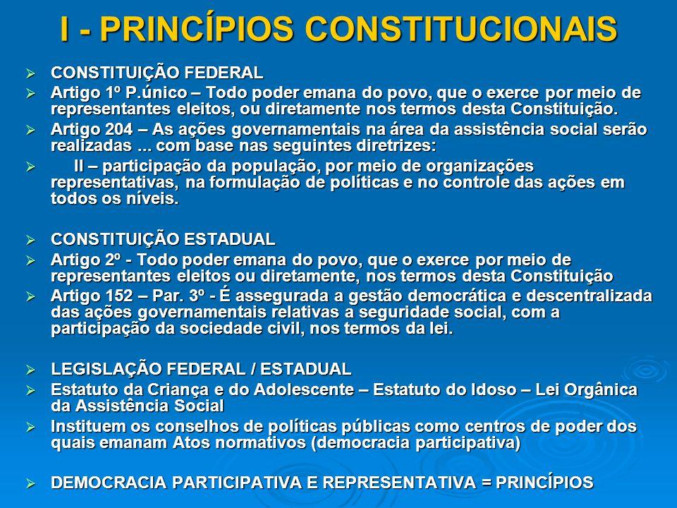 I - PRINCÍPIOS CONSTITUCIONAIS