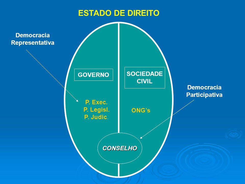 ESTADO DE DIREITO Democracia Representativa SOCIEDADE GOVERNO CIVIL
