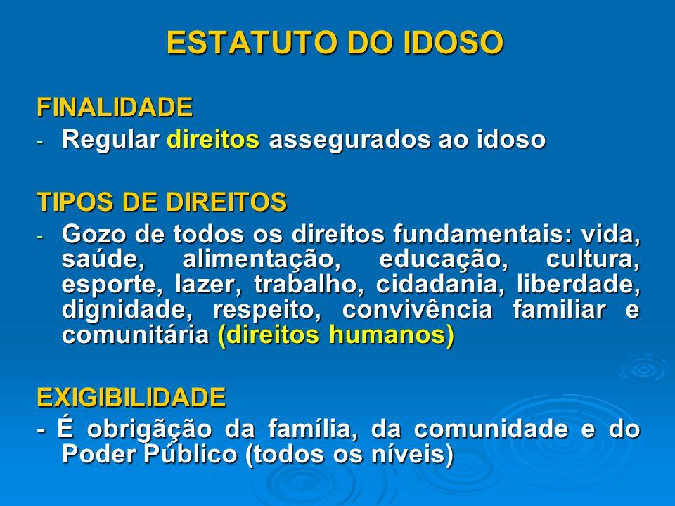 ESTATUTO DO IDOSO FINALIDADE Regular direitos assegurados ao idoso