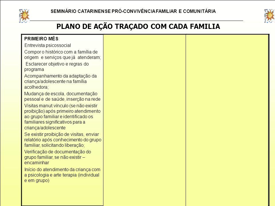 PLANO DE AÇÃO TRAÇADO COM CADA FAMILIA