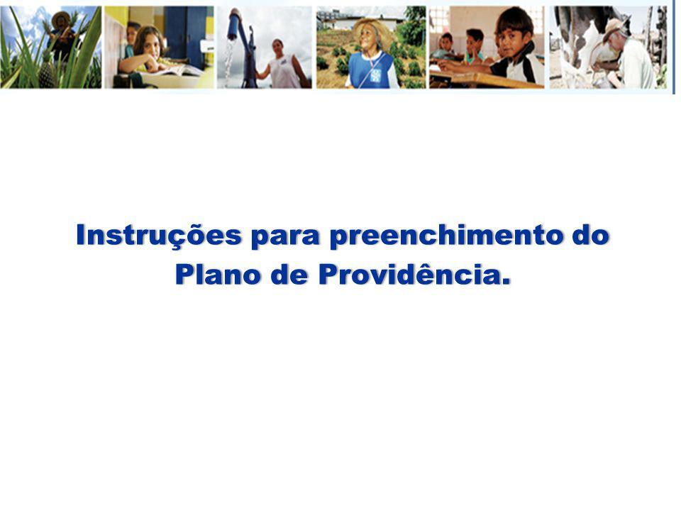 Instruções para preenchimento do Plano de Providência.