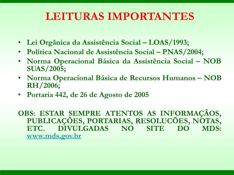 LEITURAS IMPORTANTES Lei Orgânica da Assistência Social – LOAS/1993;