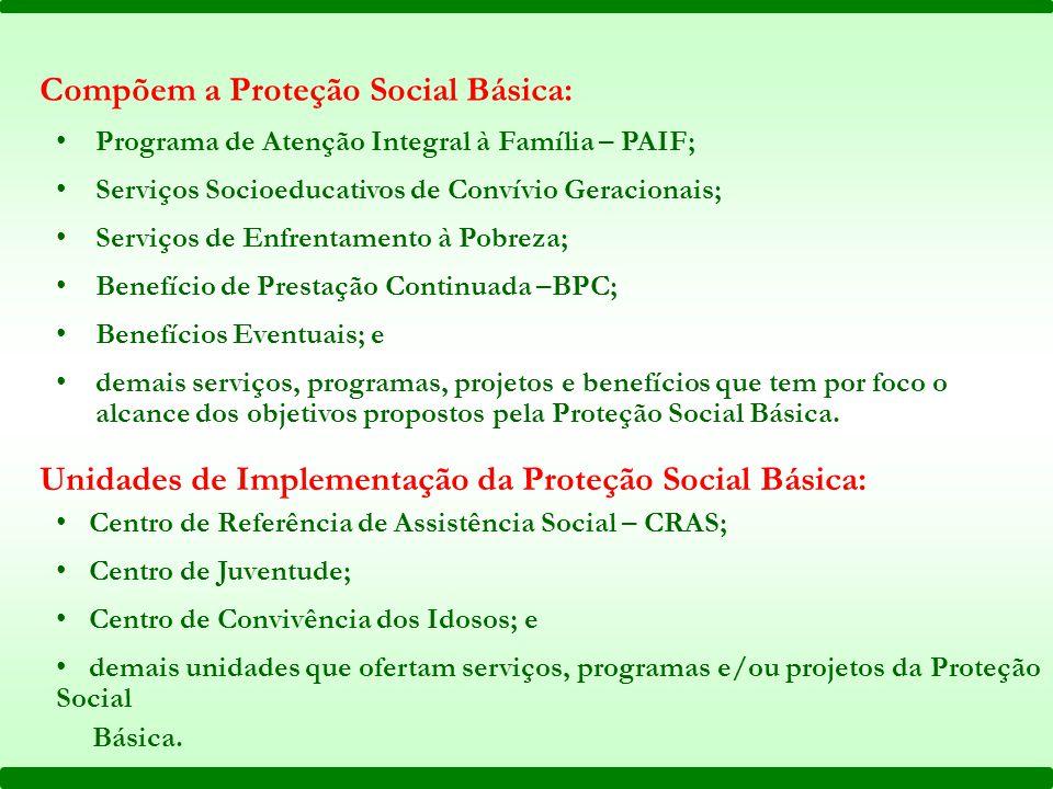 Compõem a Proteção Social Básica: