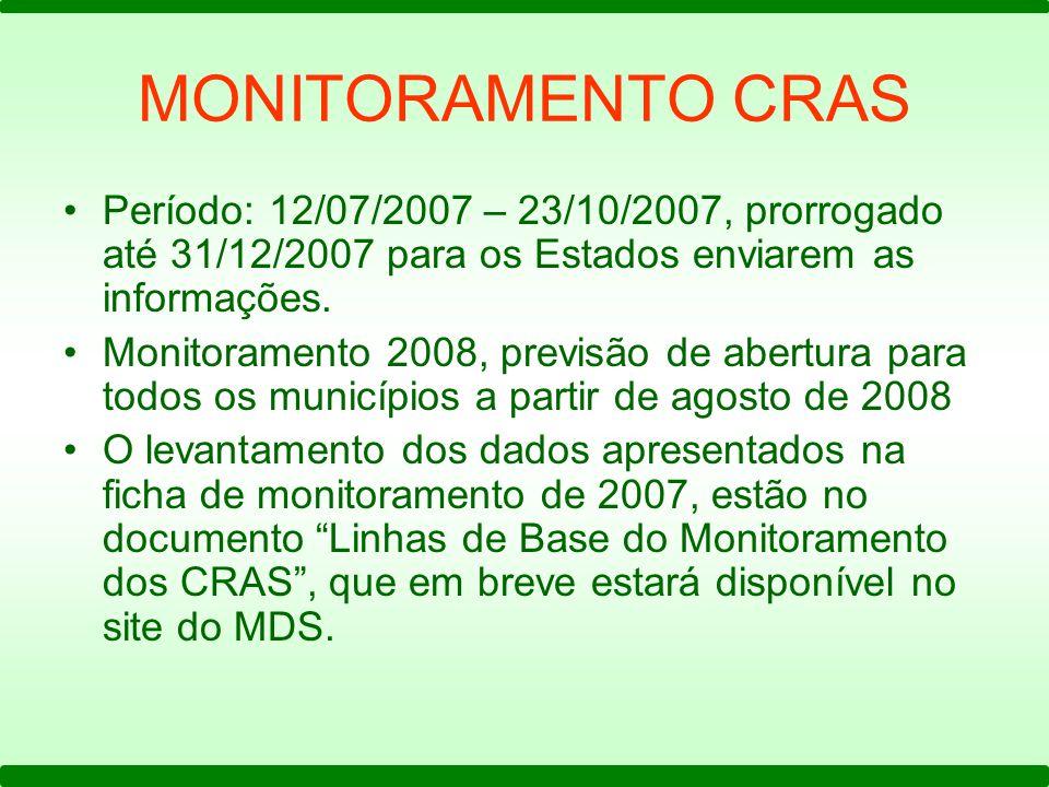 MONITORAMENTO CRAS Período: 12/07/2007 – 23/10/2007, prorrogado até 31/12/2007 para os Estados enviarem as informações.