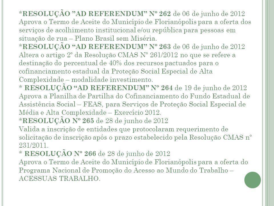*RESOLUÇÃO AD REFERENDUM Nº 262 de 06 de junho de 2012